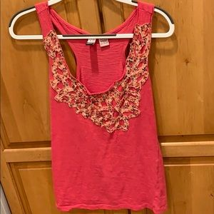 Pink with floral detail tank